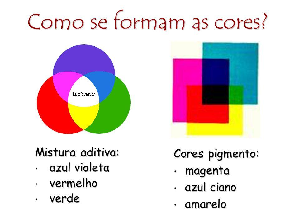 Como se formam as cores? Mistura aditiva: azul violeta azul violeta vermelho vermelho verde verde Cores pigmento: magenta magenta azul ciano azul cian