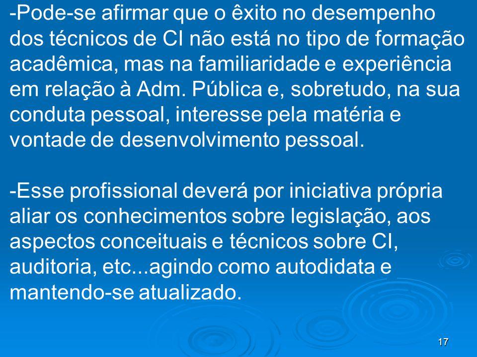 17 -Pode-se afirmar que o êxito no desempenho dos técnicos de CI não está no tipo de formação acadêmica, mas na familiaridade e experiência em relação à Adm.