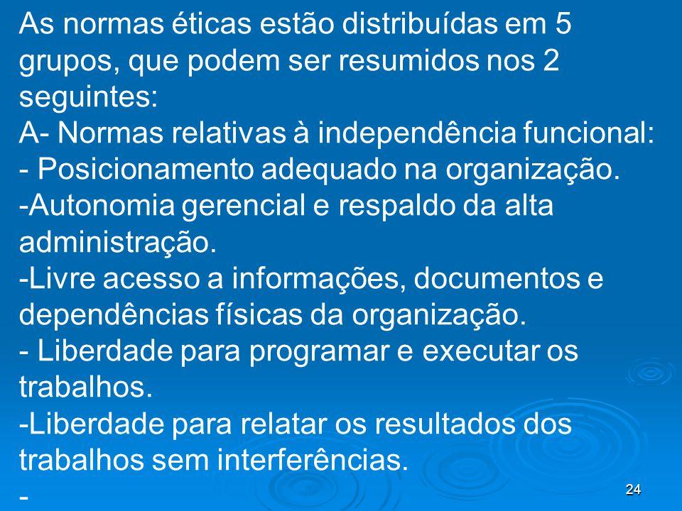 24 As normas éticas estão distribuídas em 5 grupos, que podem ser resumidos nos 2 seguintes: A- Normas relativas à independência funcional: - Posicionamento adequado na organização.