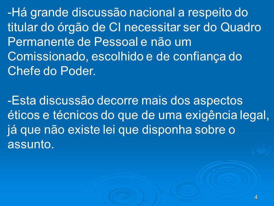 4 -Há grande discussão nacional a respeito do titular do órgão de CI necessitar ser do Quadro Permanente de Pessoal e não um Comissionado, escolhido e de confiança do Chefe do Poder.