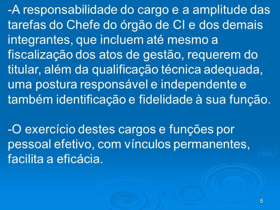 5 -A responsabilidade do cargo e a amplitude das tarefas do Chefe do órgão de CI e dos demais integrantes, que incluem até mesmo a fiscalização dos at