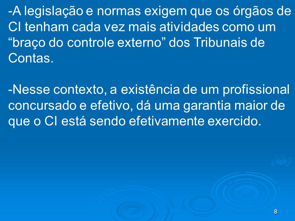 8 -A legislação e normas exigem que os órgãos de CI tenham cada vez mais atividades como um braço do controle externo dos Tribunais de Contas. -Nesse