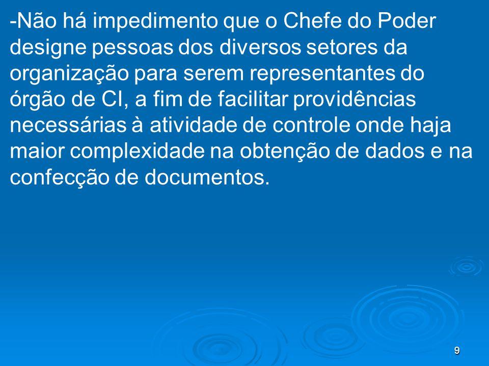 9 -Não há impedimento que o Chefe do Poder designe pessoas dos diversos setores da organização para serem representantes do órgão de CI, a fim de faci