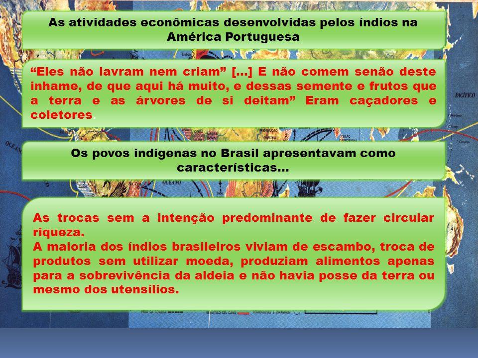 As atividades econômicas desenvolvidas pelos índios na América Portuguesa Eles não lavram nem criam [...] E não comem senão deste inhame, de que aqui