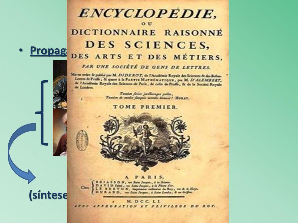 Propagação do Iluminismo: Propagação do Iluminismo: Diderot matemática D'Alembert filosofia Enciclopédia (síntese das ideias iluministas)