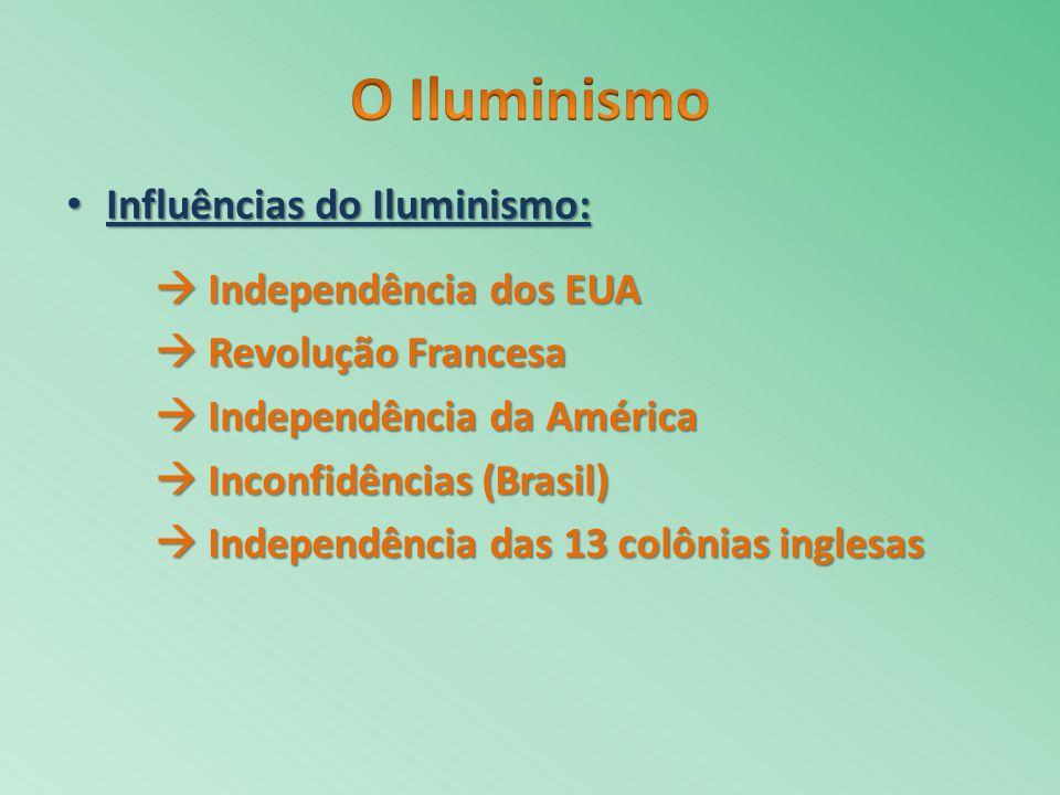 Influências do Iluminismo: Influências do Iluminismo: Independência dos EUA Independência dos EUA Revolução Francesa Revolução Francesa Independência