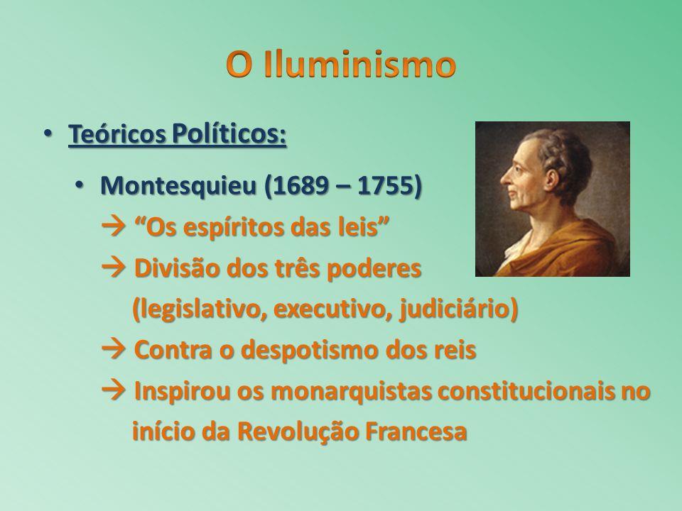Montesquieu (1689 – 1755) Montesquieu (1689 – 1755) Os espíritos das leis Os espíritos das leis Divisão dos três poderes Divisão dos três poderes (leg