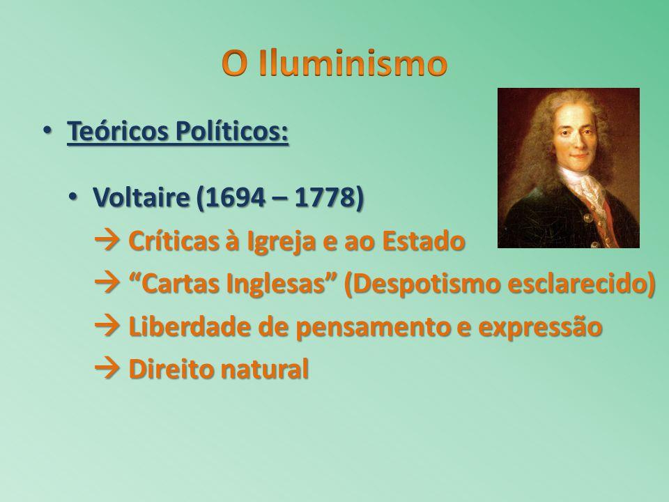 Voltaire (1694 – 1778) Voltaire (1694 – 1778) Críticas à Igreja e ao Estado Críticas à Igreja e ao Estado Cartas Inglesas (Despotismo esclarecido) Car