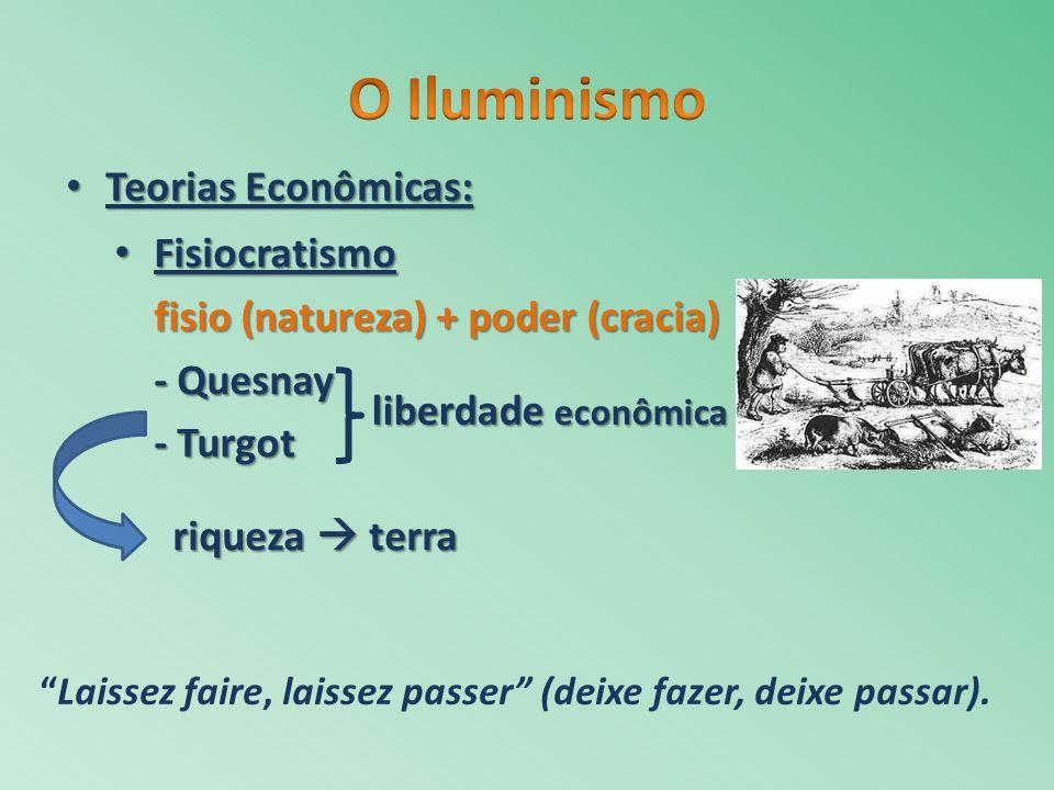 Teorias Econômicas: Teorias Econômicas: Fisiocratismo Fisiocratismo fisio (natureza) + poder (cracia) - Quesnay - Turgot liberdade econômica riqueza t