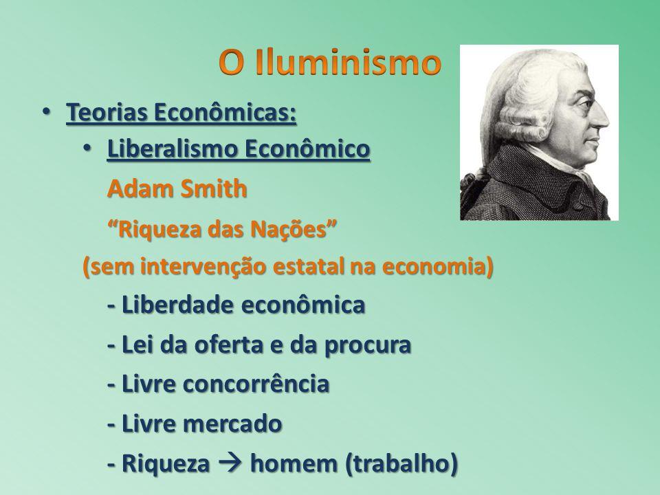 Teorias Econômicas: Teorias Econômicas: Liberalismo Econômico Liberalismo Econômico Adam Smith Riqueza das Nações (sem intervenção estatal na economia