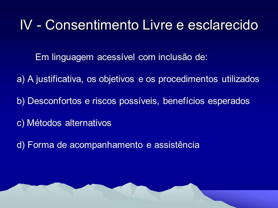 IV - Consentimento Livre e esclarecido Em linguagem acessível com inclusão de: a) A justificativa, os objetivos e os procedimentos utilizados b) Desco