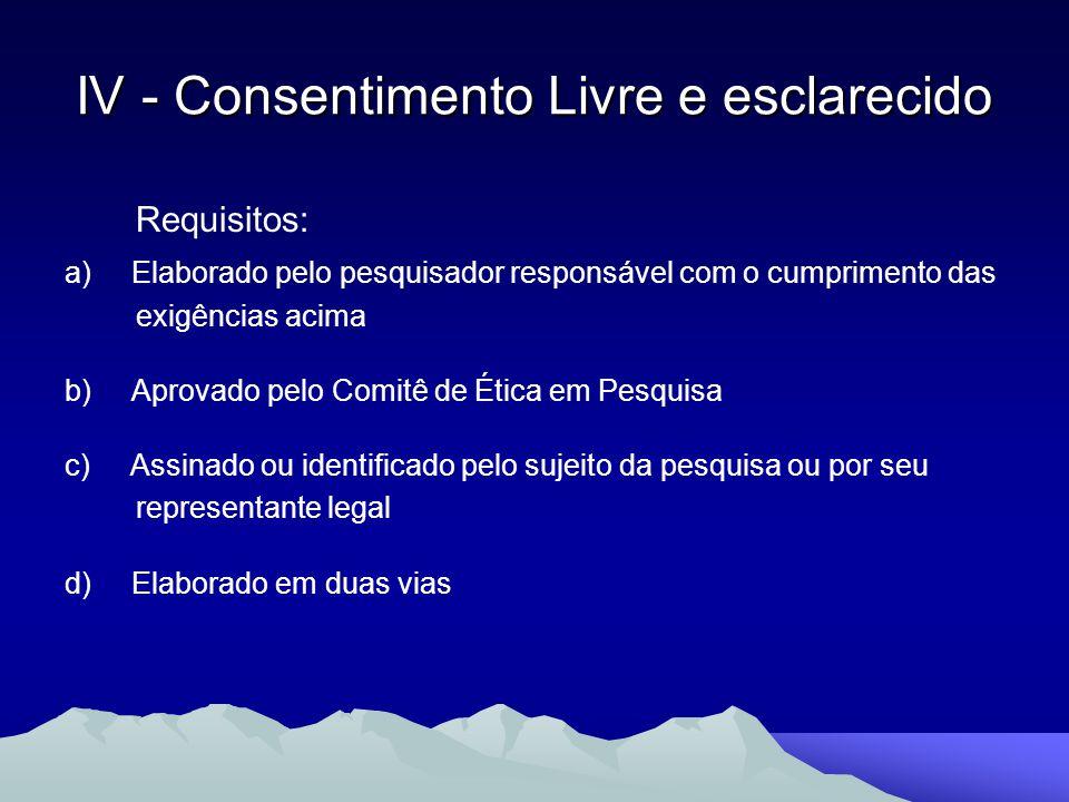 Requisitos: a) Elaborado pelo pesquisador responsável com o cumprimento das exigências acima b) Aprovado pelo Comitê de Ética em Pesquisa c) Assinado