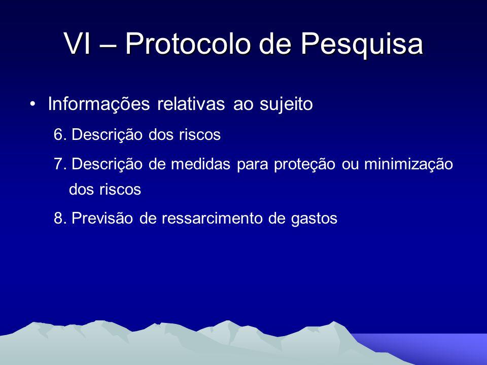 Informações relativas ao sujeito 6. Descrição dos riscos 7. Descrição de medidas para proteção ou minimização dos riscos 8. Previsão de ressarcimento