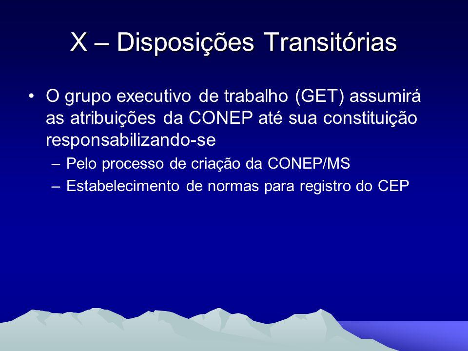 O grupo executivo de trabalho (GET) assumirá as atribuições da CONEP até sua constituição responsabilizando-se –Pelo processo de criação da CONEP/MS –