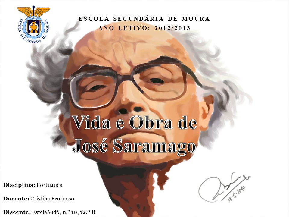 Nome: José de Sousa Saramago Data de nascimento: 16 de novembro de 1922 Nome do pai: José de Sousa Nome da mãe: Maria da Piedade Nacionalidade: Portuguesa Naturalidade: Azinhaga Profissão: Escritor Data do óbito: 18 de junho de 2010