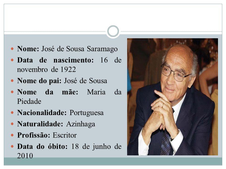 Nome: José de Sousa Saramago Data de nascimento: 16 de novembro de 1922 Nome do pai: José de Sousa Nome da mãe: Maria da Piedade Nacionalidade: Portug