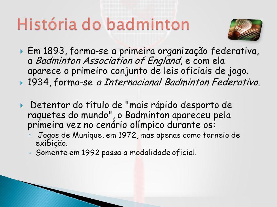 Em 1893, forma-se a primeira organização federativa, a Badminton Association of England, e com ela aparece o primeiro conjunto de leis oficiais de jog
