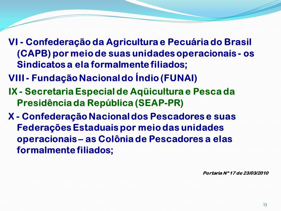 VI - Confederação da Agricultura e Pecuária do Brasil (CAPB) por meio de suas unidades operacionais - os Sindicatos a ela formalmente filiados; VIII -