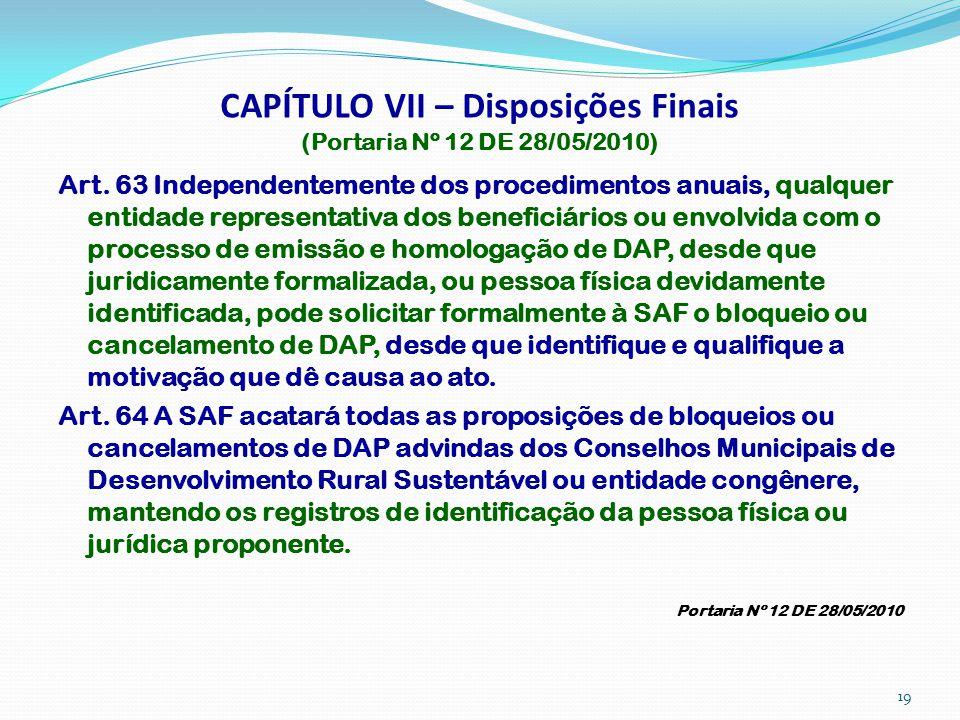 CAPÍTULO VII – Disposições Finais (Portaria Nº 12 DE 28/05/2010) Art. 63 Independentemente dos procedimentos anuais, qualquer entidade representativa