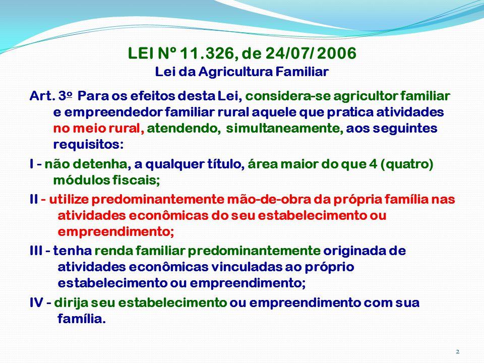 LEI Nº 11.326, de 24/07/ 2006 Lei da Agricultura Familiar Art. 3 o Para os efeitos desta Lei, considera-se agricultor familiar e empreendedor familiar