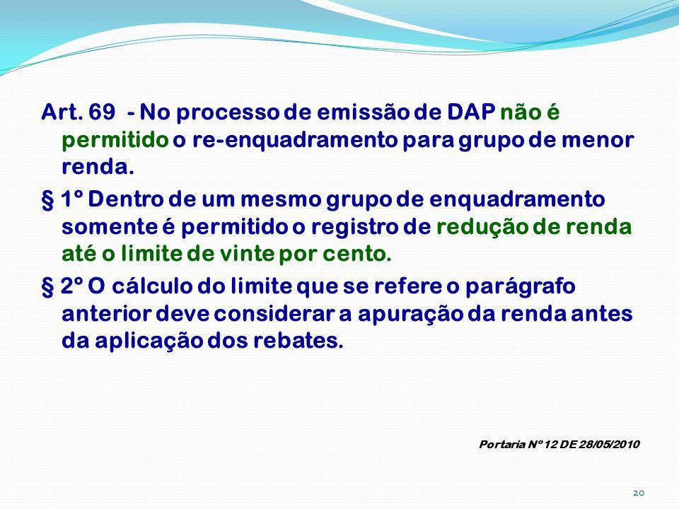 Art. 69 - No processo de emissão de DAP não é permitido o re-enquadramento para grupo de menor renda. § 1º Dentro de um mesmo grupo de enquadramento s