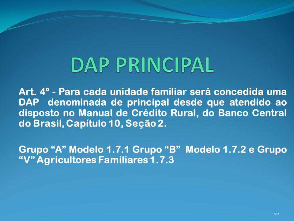Art. 4º - Para cada unidade familiar será concedida uma DAP denominada de principal desde que atendido ao disposto no Manual de Crédito Rural, do Banc