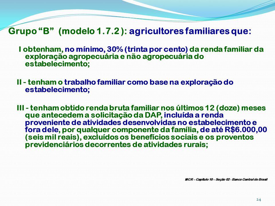 Grupo B (modelo 1.7.2 ): agricultores familiares que: I obtenham, no mínimo, 30% (trinta por cento) da renda familiar da exploração agropecuária e não