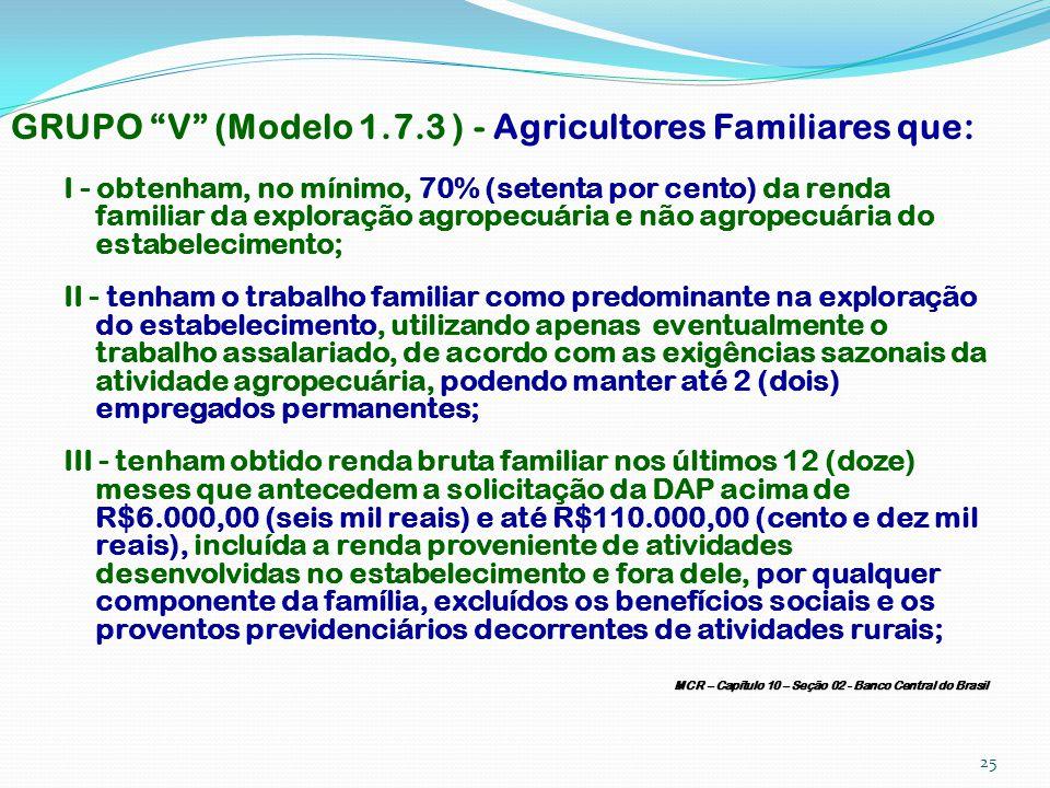 GRUPO V (Modelo 1.7.3 ) - Agricultores Familiares que: I - obtenham, no mínimo, 70% (setenta por cento) da renda familiar da exploração agropecuária e