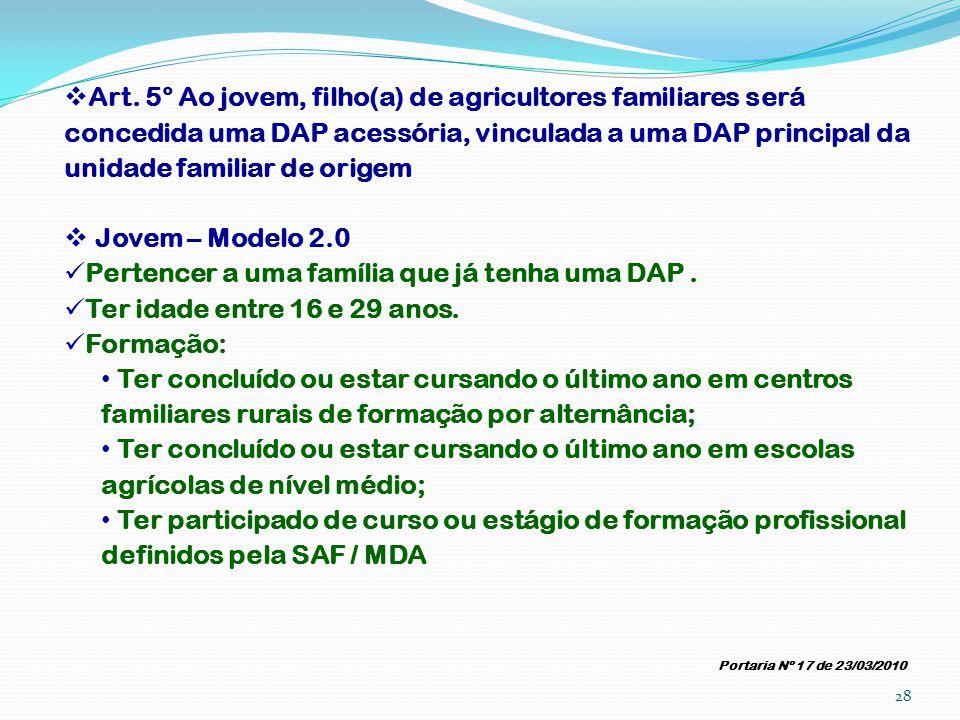 Art. 5° Ao jovem, filho(a) de agricultores familiares será concedida uma DAP acessória, vinculada a uma DAP principal da unidade familiar de origem Jo