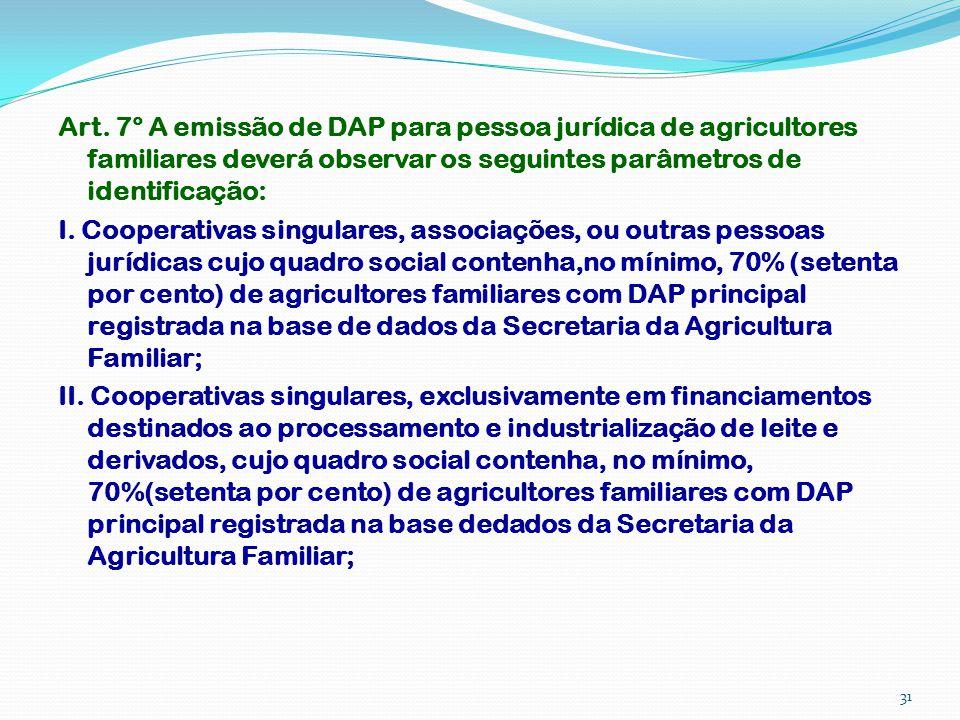 Art. 7° A emissão de DAP para pessoa jurídica de agricultores familiares deverá observar os seguintes parâmetros de identificação: I. Cooperativas sin