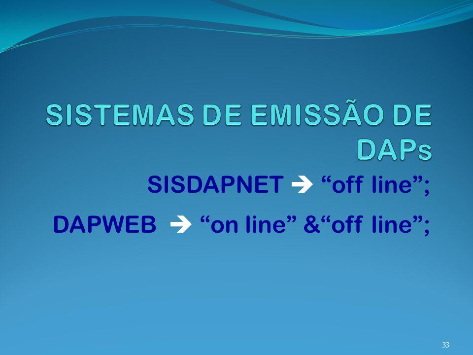SISDAPNET off line; DAPWEB on line &off line; 33