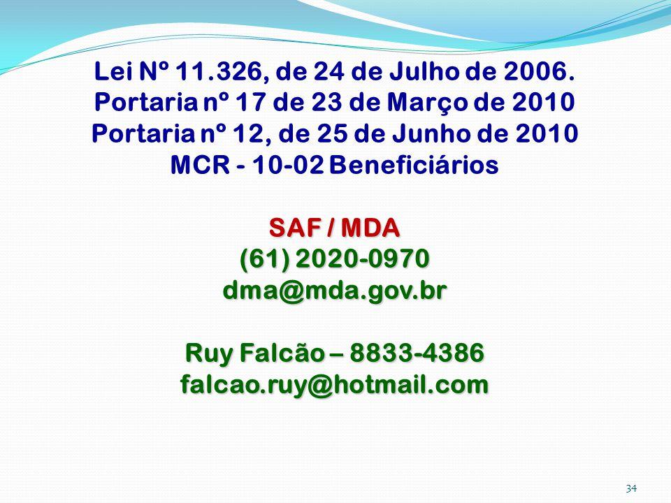 Lei Nº 11.326, de 24 de Julho de 2006. Portaria nº 17 de 23 de Março de 2010 Portaria nº 12, de 25 de Junho de 2010 MCR - 10-02 Beneficiários SAF / MD