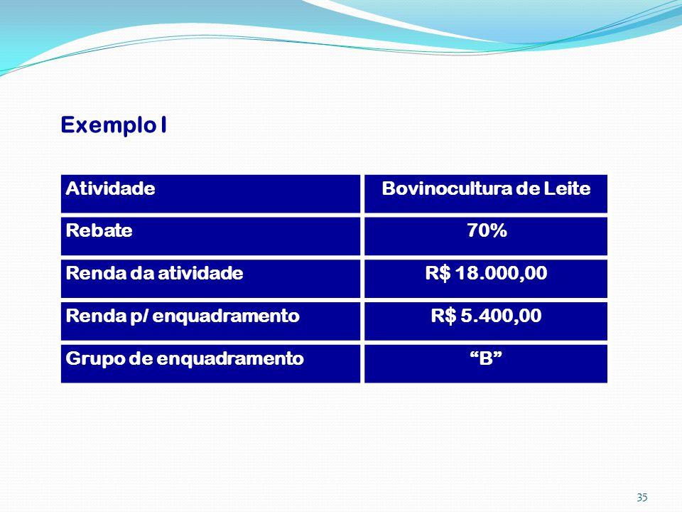 Exemplo I AtividadeBovinocultura de Leite Rebate70% Renda da atividadeR$ 18.000,00 Renda p/ enquadramentoR$ 5.400,00 Grupo de enquadramentoB 35