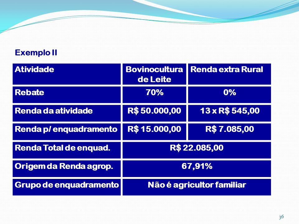 Exemplo II AtividadeBovinocultura de Leite Renda extra Rural Rebate70%0% Renda da atividadeR$ 50.000,0013 x R$ 545,00 Renda p/ enquadramentoR$ 15.000,