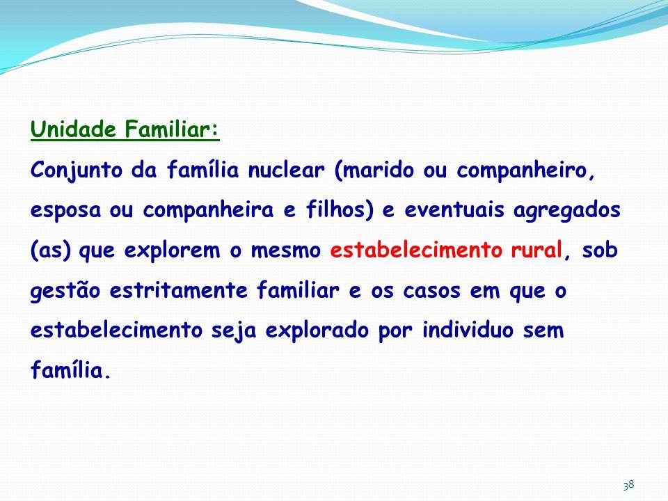 Unidade Familiar: Conjunto da família nuclear (marido ou companheiro, esposa ou companheira e filhos) e eventuais agregados (as) que explorem o mesmo