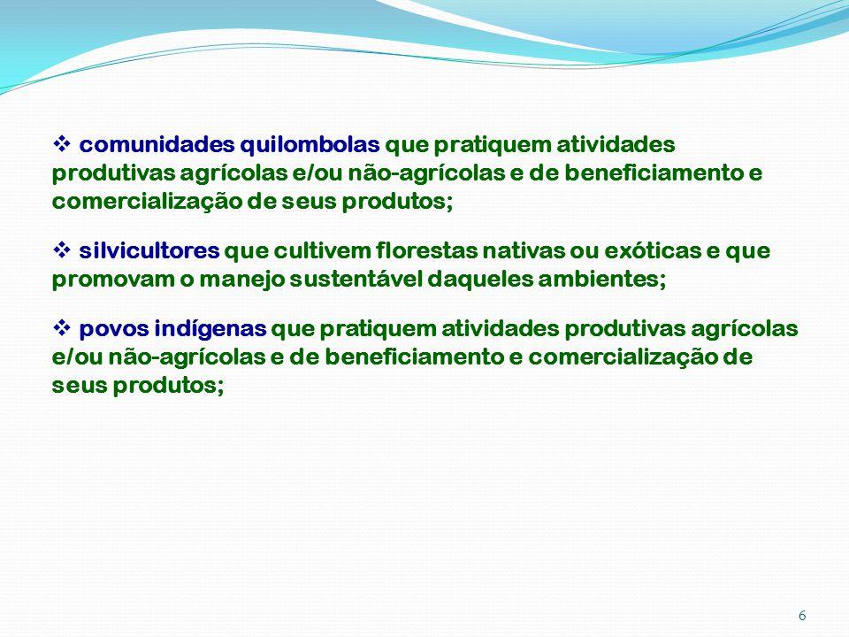 comunidades quilombolas que pratiquem atividades produtivas agrícolas e/ou não-agrícolas e de beneficiamento e comercialização de seus produtos; silvi