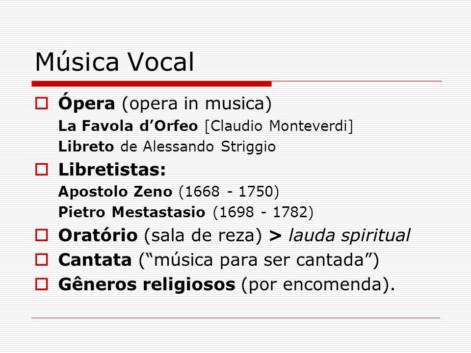 Música Vocal Ópera (opera in musica) La Favola dOrfeo [Claudio Monteverdi] Libreto de Alessando Striggio Libretistas: Apostolo Zeno (1668 - 1750) Piet