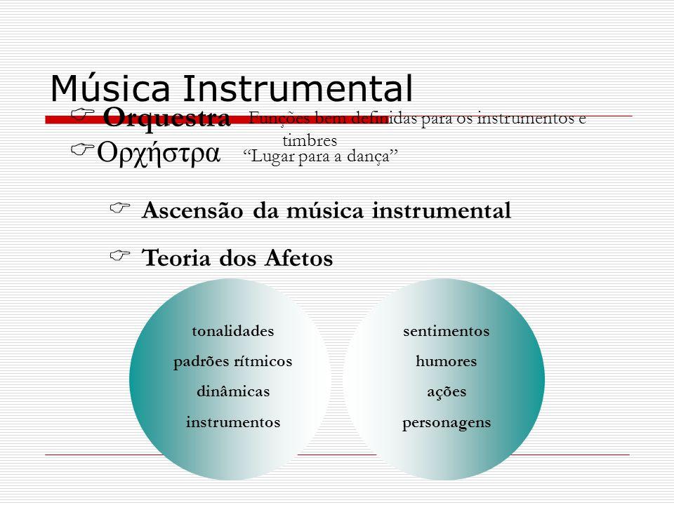 Ascensão da música instrumental Teoria dos Afetos Música Instrumental sentimentos humores ações personagens tonalidades padrões rítmicos dinâmicas ins