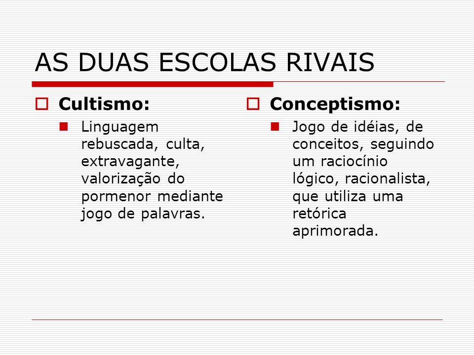 AS DUAS ESCOLAS RIVAIS Cultismo: Linguagem rebuscada, culta, extravagante, valorização do pormenor mediante jogo de palavras. Conceptismo: Jogo de idé