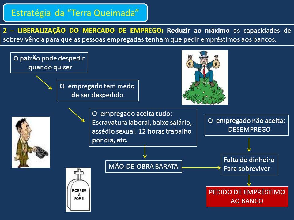 2 – LIBERALIZAÇÃO DO MERCADO DE EMPREGO: Reduzir ao máximo as capacidades de sobrevivência para que as pessoas empregadas tenham que pedir empréstimos