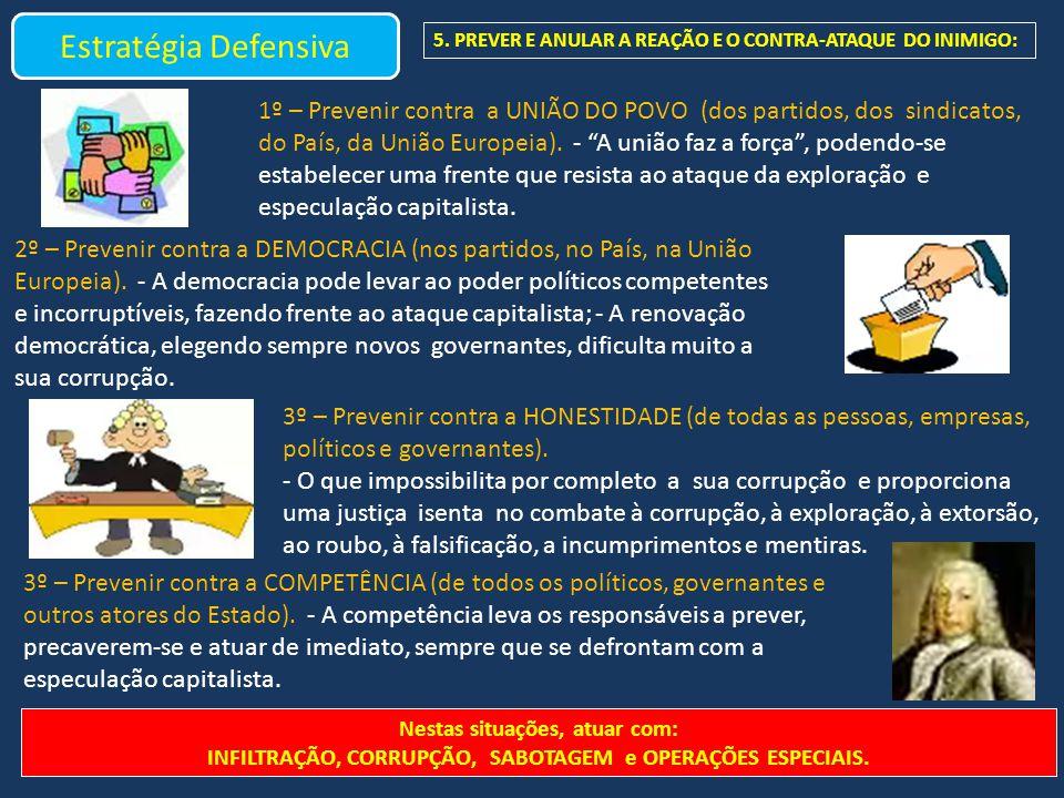 Estratégia Defensiva 5. PREVER E ANULAR A REAÇÃO E O CONTRA-ATAQUE DO INIMIGO: 1º – Prevenir contra a UNIÃO DO POVO (dos partidos, dos sindicatos, do