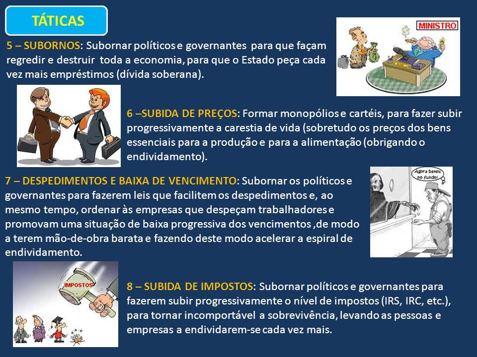 TÁTICAS 5 – SUBORNOS: Subornar políticos e governantes para que façam regredir e destruir toda a economia, para que o Estado peça cada vez mais emprés