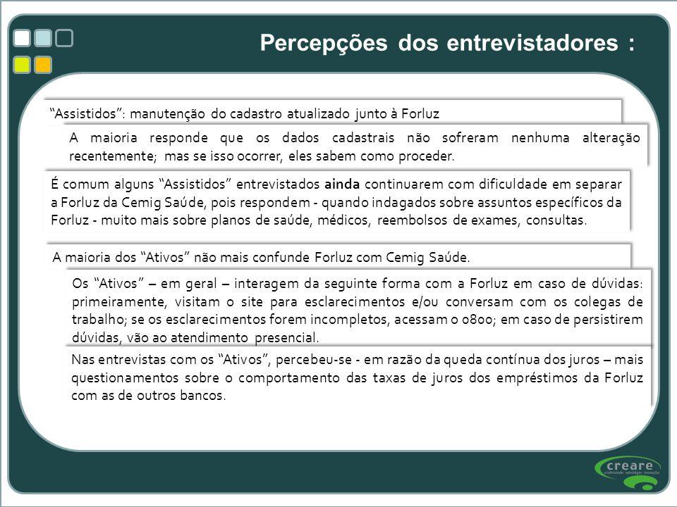 Assistidos: manutenção do cadastro atualizado junto à Forluz A maioria responde que os dados cadastrais não sofreram nenhuma alteração recentemente; m