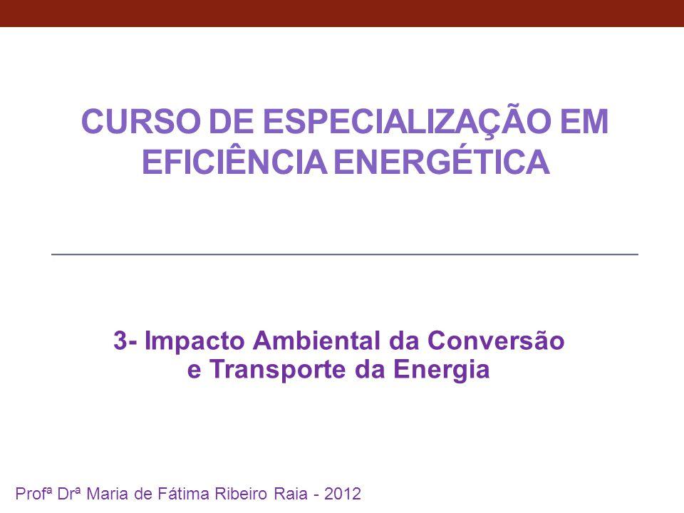 CURSO DE ESPECIALIZAÇÃO EM EFICIÊNCIA ENERGÉTICA 3- Impacto Ambiental da Conversão e Transporte da Energia 1 Profª Drª Maria de Fátima Ribeiro Raia -