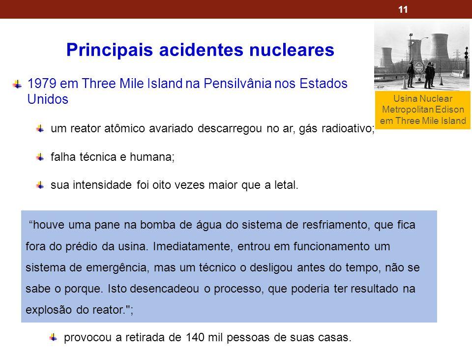 11 Principais acidentes nucleares 1979 em Three Mile Island na Pensilvânia nos Estados Unidos um reator atômico avariado descarregou no ar, gás radioa
