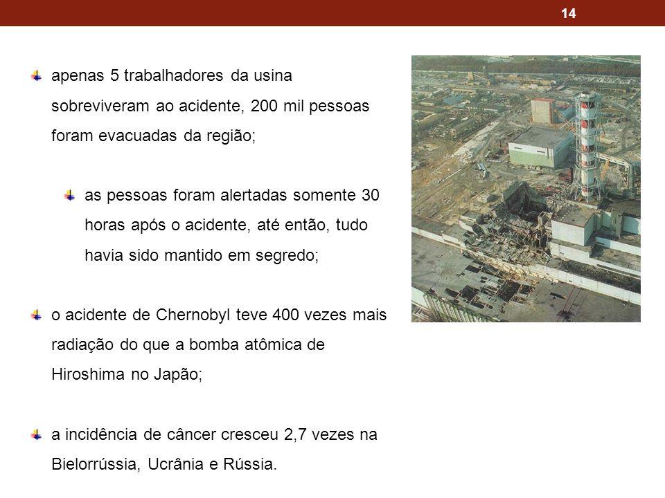 14 apenas 5 trabalhadores da usina sobreviveram ao acidente, 200 mil pessoas foram evacuadas da região; as pessoas foram alertadas somente 30 horas ap