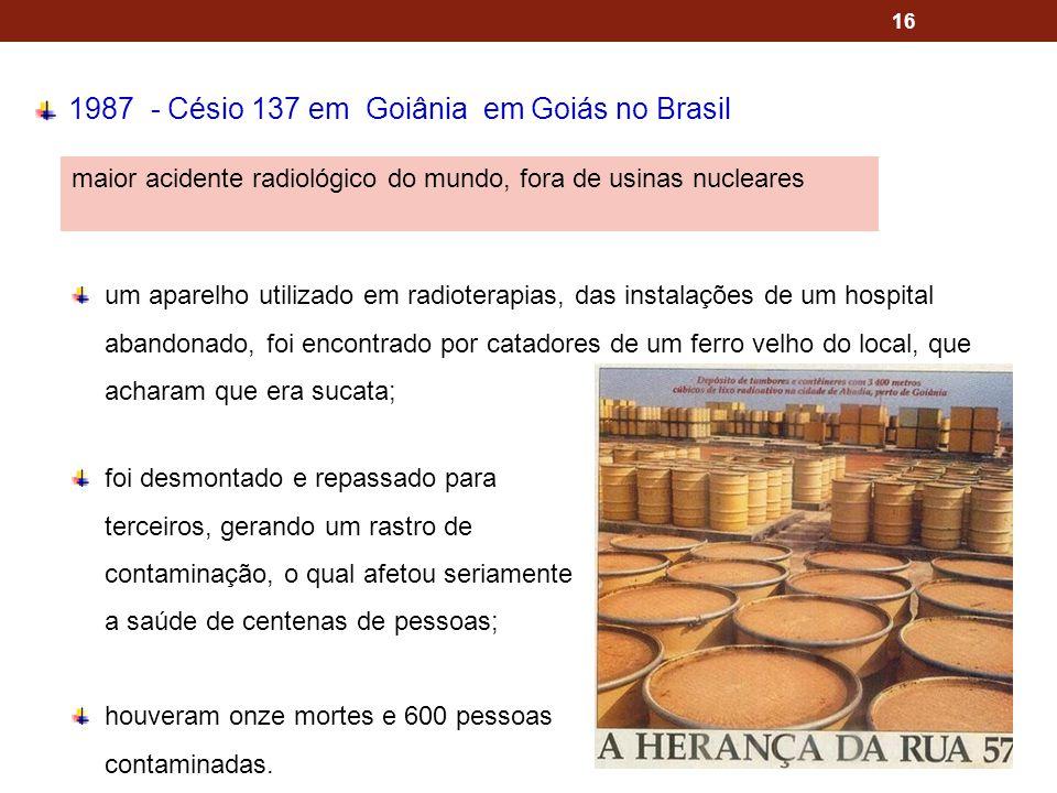 16 1987 - Césio 137 em Goiânia em Goiás no Brasil maior acidente radiológico do mundo, fora de usinas nucleares um aparelho utilizado em radioterapias