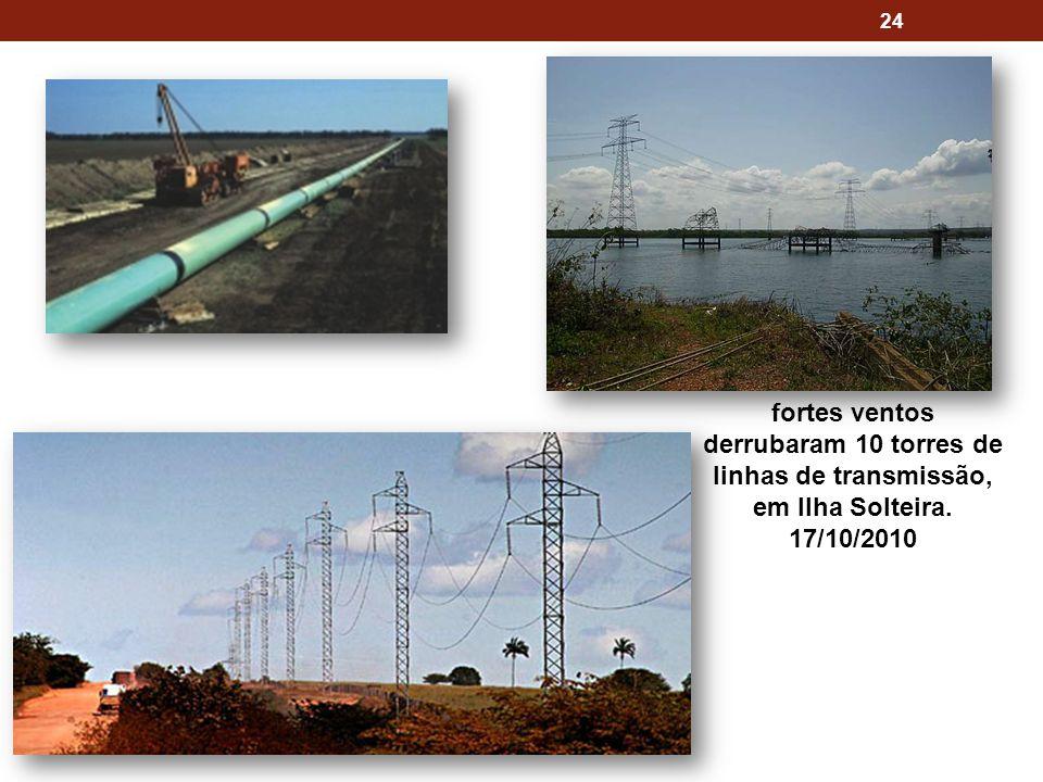 24 fortes ventos derrubaram 10 torres de linhas de transmissão, em Ilha Solteira. 17/10/2010