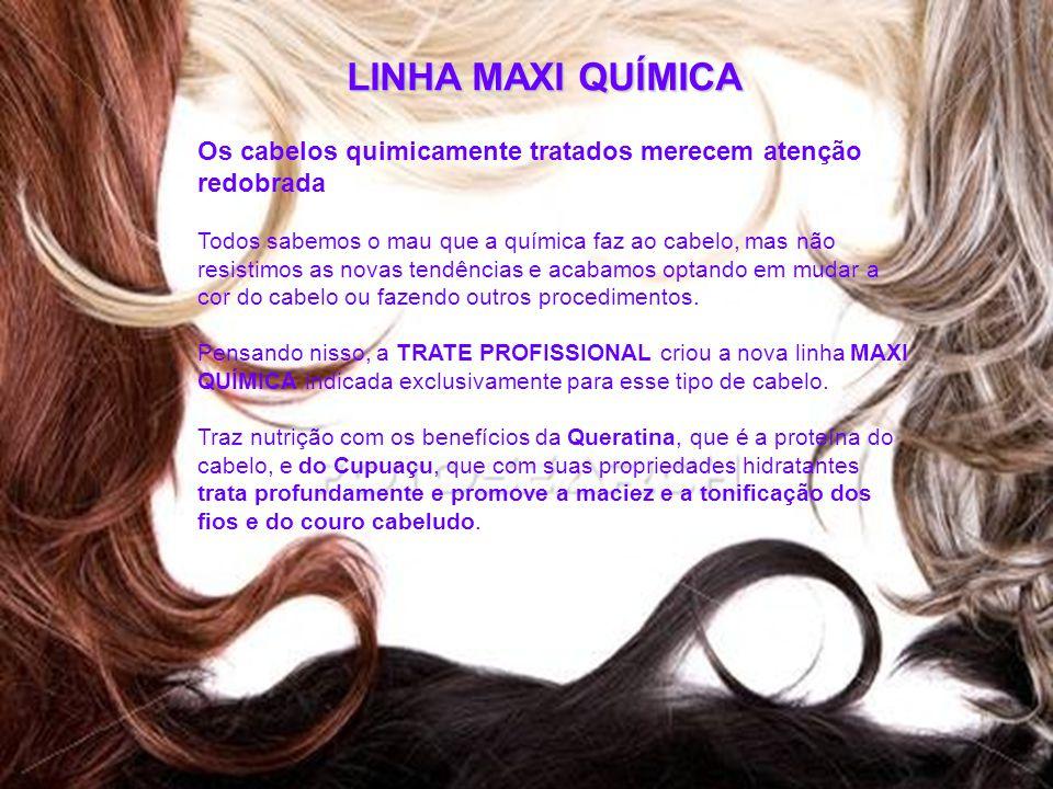 LINHA MAXI QUÍMICA Os cabelos quimicamente tratados merecem atenção redobrada Todos sabemos o mau que a química faz ao cabelo, mas não resistimos as n