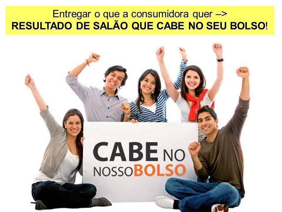Entregar o que a consumidora quer –> RESULTADO DE SALÃO QUE CABE NO SEU BOLSO!